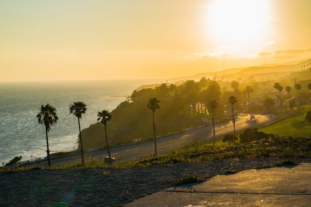 San Pedro, California beach sunset palm trees
