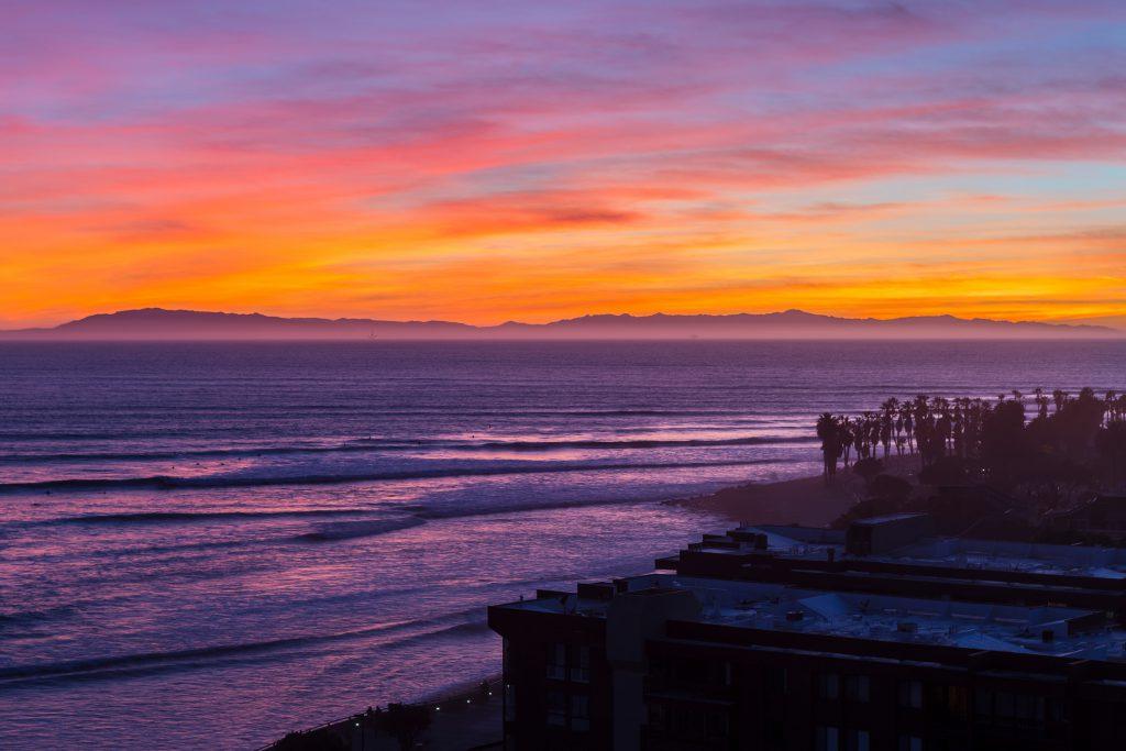 Pacific ocean sunset in Ventura, California.