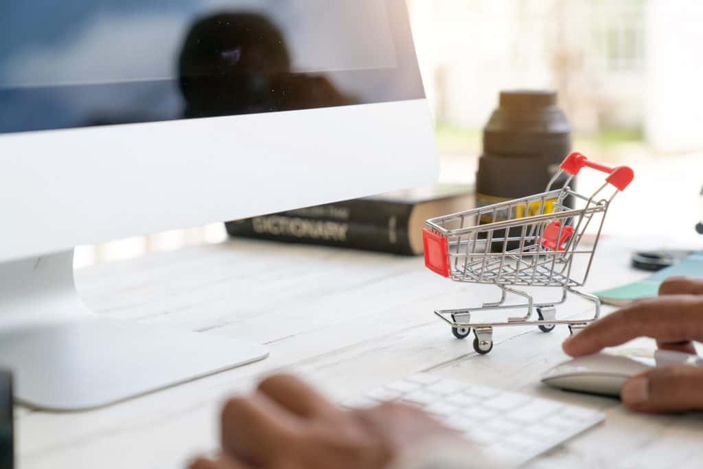 online shopping mini shopping cart apple computer keyboard