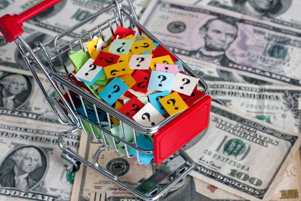 shopping cart toy mini question marks questions money bills