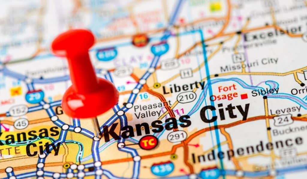 pin on map in Kansas City, MO