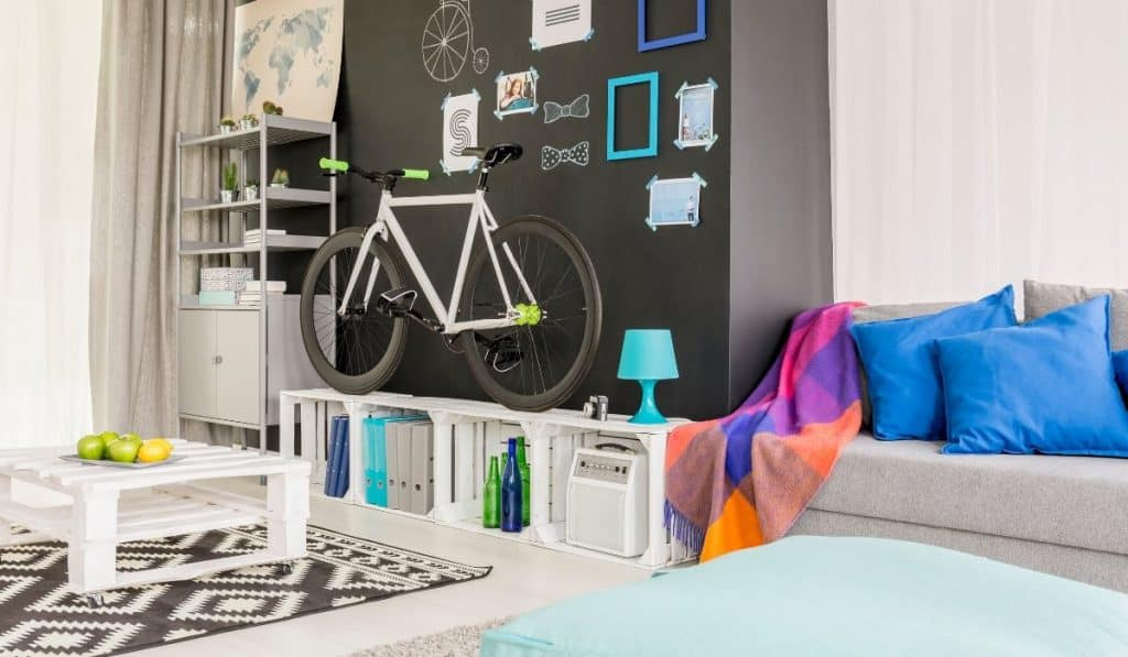 bike stored in a small apartment