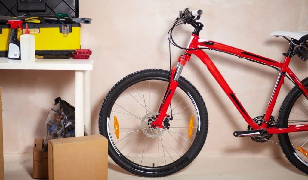 bike stored in the garage