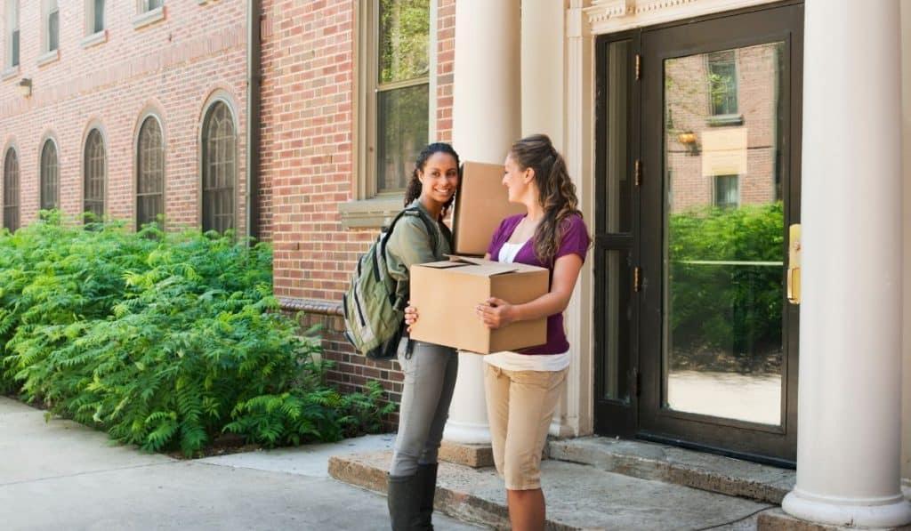 college students bringing stuff