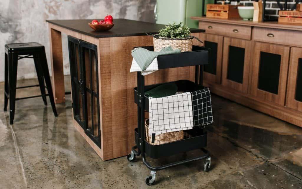 rolling kitchen cart three tier