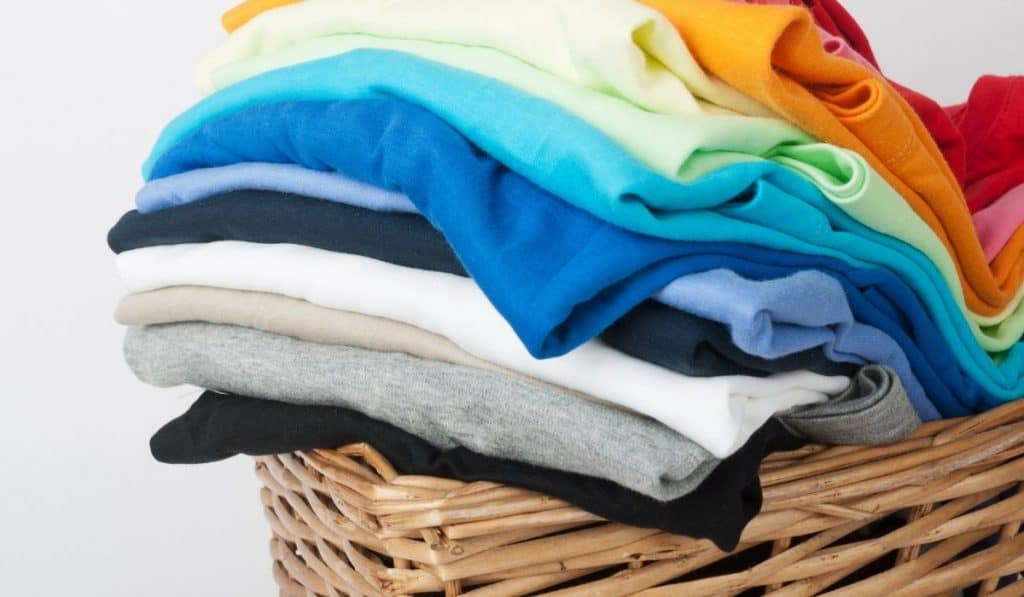 dry and folded clothes in a basket