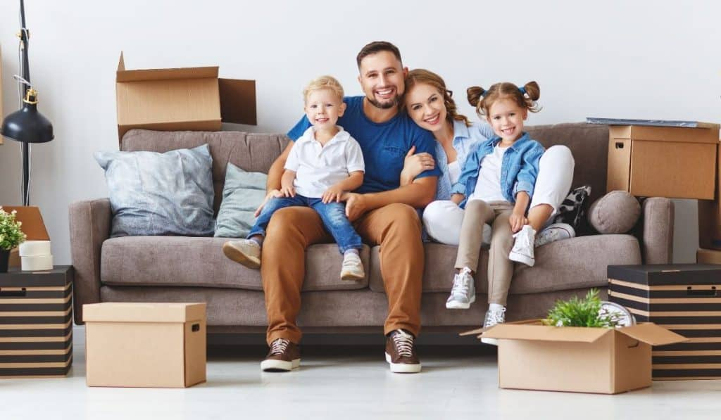 family moving in to their new place